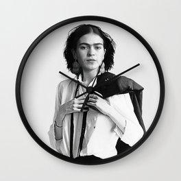 Frida Kahlo Wearing White Shirt Wall Clock