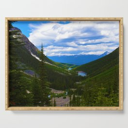 Looking over lower Geraldine Lakes in Jasper National Park, Canada Serving Tray