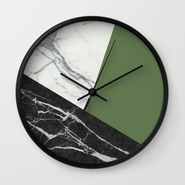 Black and white marble with pantone kale Wall Clock