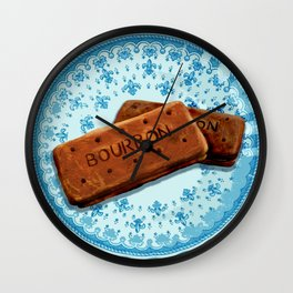 Bourbon biscuits on a plate for tea time Wall Clock