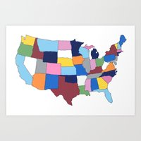 usa Art Prints featuring USA by Project M