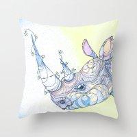 rhino Throw Pillows featuring Rhino by Kate Fitzpatrick