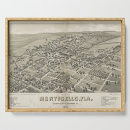 Vintage Pictorial Map of Monticello FL (1885) Serving Tray