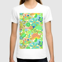 70's Psychedelic Garden in Lime + White T-shirt