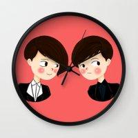tegan and sara Wall Clocks featuring Tegan and Sara by Christina Abigail
