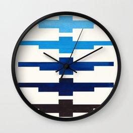 Mid Century Minimalist Ancient Aztec Inca Geometric Pattern Watercolor Prussian Blue Colorful Gouach Wall Clock