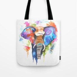 Abstract Watercolor Elephant Portrait Tote Bag