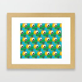 Green, blue and red parrot - Pretty little birdies Framed Art Print