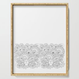 black&white hand drawn floral background Serving Tray