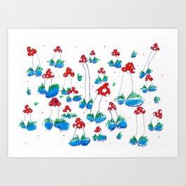 Crazy Xmas Mushrooms - Gift Idea Art Print