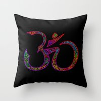 om Throw Pillows featuring OM by Tali Rachelle