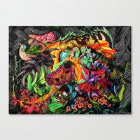 jazzberry Canvas Prints featuring Just another day in the jungle by Donuts