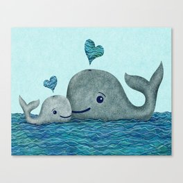Whale Mom and Baby with Hearts in Gray and Turquoise Canvas Print