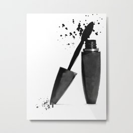 Black mascara fashion illustration Metal Print