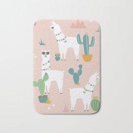 Summer Llamas on Pink Bath Mat