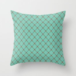 Stylized Butterfly Pattern // Geometric Butterfly // Mint Green and Mustard Yellow Throw Pillow