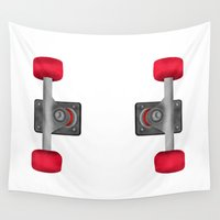 skateboard Wall Tapestries featuring Skateboard Trucks by mailboxdisco