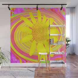 Yellow Sunflower on a Fuchsia Psychedelic Swirl Wall Mural
