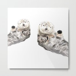 Sea Otters Watercolor Painting Metal Print