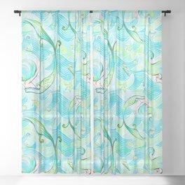 Mermaid Pattern 03 Sheer Curtain