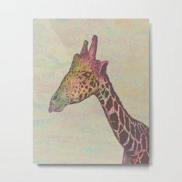 Giraffe in Technicolor Metal Print