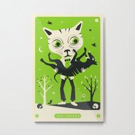 TAROT CARD CAT: THE LOVERS Metal Print