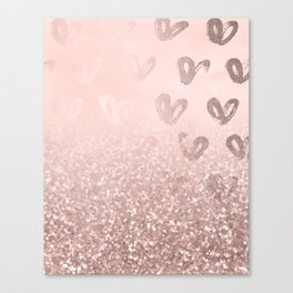 Rose Gold Sparkles on Pretty Blush Pink with Hearts Canvas Print