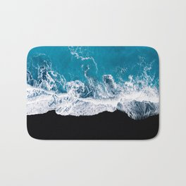Black sand beach with waves and blue Ocean in Iceland – Minimal Photography Bath Mat