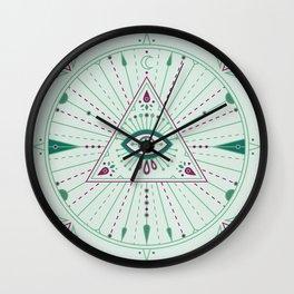 Evil Eye Mandala – Mint Wall Clock