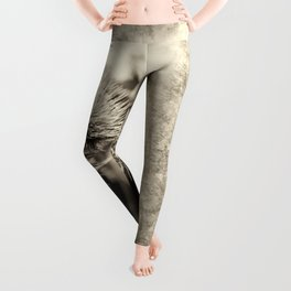 Beautiful thistle growing wild and sepia texture Leggings