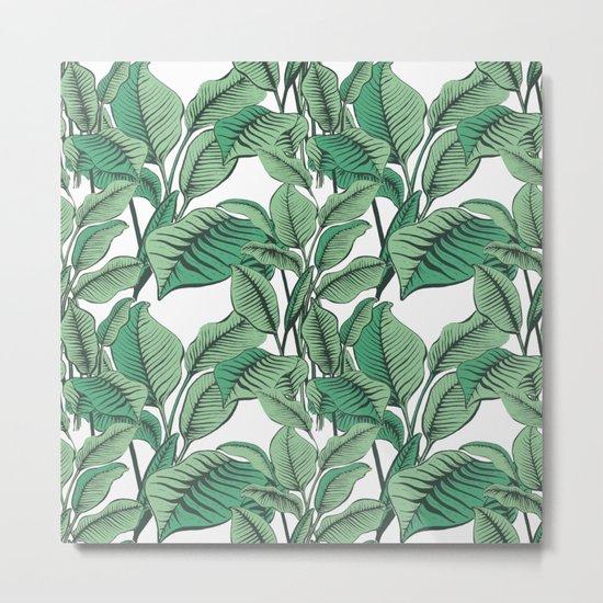 Exotic Tropical Banana Palm Leaf Print Metal Print