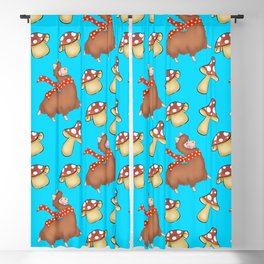 Cute happy llamas with warm scarves and funny whimsical little mushrooms seamless pattern design Blackout Curtain