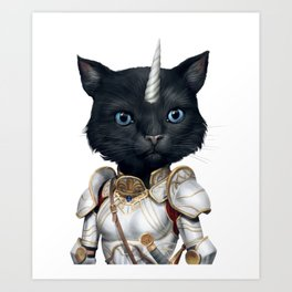 funny cute unicorn warrior black cat with blue eyes Art Print