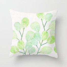 Jade Plant Watercolor Throw Pillow