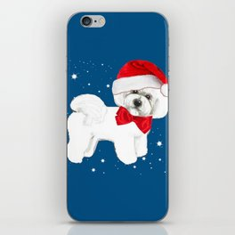 Bichon Frise red christmas holiday themed pattern print pet friendly dog breed gifts iPhone Skin