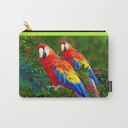 GREEN JUNGLE 2 RED MACAW PARROTS Carry-All Pouch