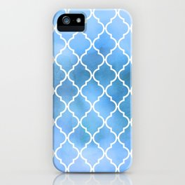 Moroccan Trellis, Latticework, Watercolors - Blue iPhone Case