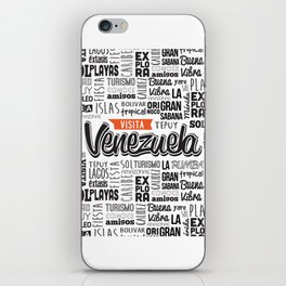 Venezuela Lettering Design - Black and white iPhone Skin