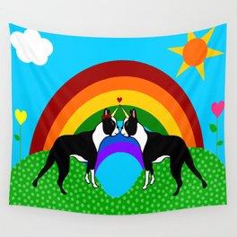 Boston Terrier Unicorn Love Wall Tapestry
