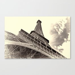 The famous Eiffel Tower in Paris, France in sepia. Vintage photography Canvas Print