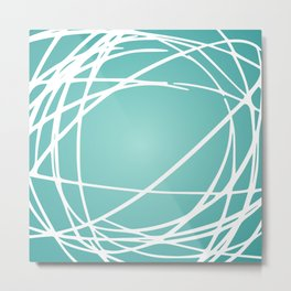 Circles and Swirls Modern Abstract Aqua and White Metal Print