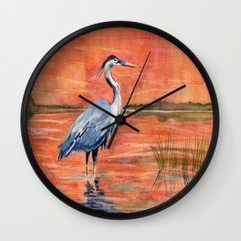 Great Blue Heron in Marsh Wall Clock