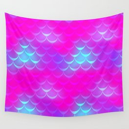 Pink and Blue Mermaid Tail Abstraction. Magic Fish Scale Pattern Wall Tapestry