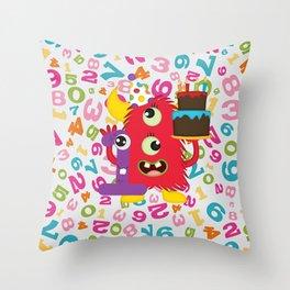 Birthday Monster 1st Birthday Throw Pillow