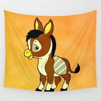 donkey Wall Tapestries featuring Childhood Donkey by Texnotropio