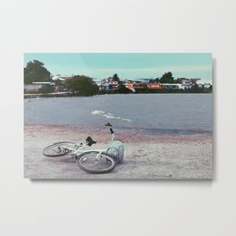 Bicycle left in Belize Metal Print