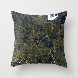Quezon City Map of the Philippines - Gold Art Deco Throw Pillow
