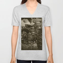 Abandoned Old Farmall Tractor in Sepia Tone Unisex V-Neck