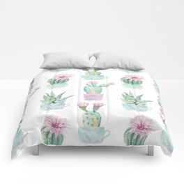 Simply Echeveria Cactus in Pastel Cactus Green and Pink Comforters