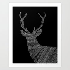 Stag / Deer (On Black) Art Print